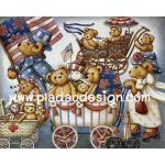 0007 กระดาษอาร์ทพิมพ์ลาย สำหรับทำงาน เดคูพาจ Decoupage แนวภาพ หมี เท็ดดี้แบร์ Teddy bear เดินพาเหรดขบวนรถเข็นเด็ก (pladao design) A5