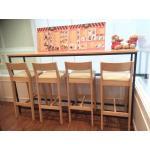เก้าอี้บาร์ไม้จริง สีไลท์บีช ดีไซน์สวย สำหรับร้านอาหาร ร้านกาแฟ