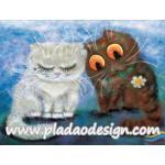 กระดาษสาพิมพ์ลาย สำหรับทำงาน เดคูพาจ Decoupage แนวภาพ การ์ตูนอย่างน่ารัก แมวอ้วนขาวร้องไห้ แมวอ้วนดำเอาดอกไม้มาง้อ A5