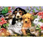 กระดาษสาพิมพ์ลาย สำหรับทำงาน เดคูพาจ Decoupage แนวภาพ รวมมิตรสัตว์ มีทั้งหมา แมว กระต่าย หนู นก พร้อม A5