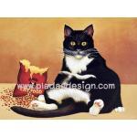กระดาษสาพิมพ์ลาย สำหรับทำงาน เดคูพาจ Decoupage แนวภาพ เมื่อน้องแมวดำแอบขโมย เปิดอาหารแมวกินกันเอง ผลก็คือ พุงกาง A5