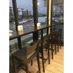 โต๊ะบาร์ เก้าอี้บาร์ ดีไซน์สวย สีโอ๊ค เหมาะสำหรับร้านอาหาร ร้านกาแฟ