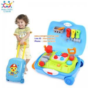 Huile Toys ชุดกระเป๋าเครื่องมือช่างแบบมีล้อ พร้อมมือจับ Pretend Play Tool Set