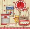 แนวภาพอาหาร กระป๋อง ถ้วยชาม ตะกร้า บนพื้นครีม ภาพโทนสีแดง เป็นภาพแนวยาว กระดาษแนพกิ้นสำหรับทำงาน เดคูพาจ Decoupage Paper Napkins ขนาด 33X33cm