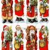กระดาษตัดสำเร็จ ลายนูน ภาพเดี๋ยว แนวคริสมาสต์ แซนต้า กับหลากหลายท่าทาง พร้อมถุงของขวัญ ต้นคริสมาสต์