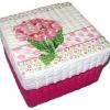 กล่องเก็บของ กล่องของขวัญ ผักตบชวาทรงจตุรัส แบบฝาครอบ ลายช่อดอกพิมุล่าสีชมพู