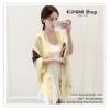 PR042-B ผ้าพันคอแฟชั่น ผ้าคลุมไหล ผ้าซาติน พิมพ์ลาย สีเหลือง ขนาด กว้าง 90 ยาว 180 cm.