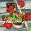 กระดาษสาพิมพ์ลาย สำหรับทำงาน เดคูพาจ Decoupage แนวภาำพ นกน้อยสีน้ำตาล 2 ตัว นั่งคุยกันอยู่ในกระถางดอกไม้สีแดงปักธงชาติอเมริกา ตั้งอยู่บนบันไดไม้ สีคลาสสิคสวยหวาน (ปลาดาวดีไซน์)