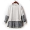 เสื้อผ้าแฟชั่นกระโปรงลายเย็บ2 ตอน แขนยาวสไตล์เกาหลี-ขาว
