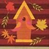 แนวภาพศิลปะ บ้านต้นไม้บนพื้นลายไม้ พร้อมลายแต่ง ภาพโทนสีน้ำตาล เป็นภาพ 4 บล๊อค กระดาษแนพกิ้นสำหรับทำงาน เดคูพาจ Decoupage Paper Napkins ขนาด 33X33cm