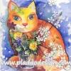 กระดาษสาพิมพ์ลาย สำหรับทำงาน เดคูพาจ Decoupage แนวภาำพ ภาพวาด ระบายสี วิชาศิลปะของเด้กน้อย รูปแมวตาหวาน อ้วนจำม่ำสีส้ม