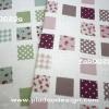 ผ้า Canvas พิมพ์ลาย สำหรับทำงานฝีมือ หรือบุชิ้นงาน - ลาย แสตมป์ดอกไม้ จุด ตาราง