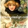 กระดาษสาพิมพ์ลาย rice paper สำหรับทำงาน เดคูพาจ Decoupage แนวภาพ แม่มดวินเทจ Happy Halloween แม่มดสาวสุดสวยมากับบรรดาเอเลี่ยนสีเอิร์ทโทน (ปลาดาว ดีไซน์)