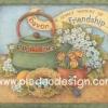 กระดาษสาพิมพ์ลาย สำหรับทำงาน เดคูพาจ Decoupage แนวภาำพ lovely moment of friendship กาต้มน้ำโบราณาสีเขียว อยู่ข้างๆดอกไม้ สีหวานสวยมาก (ปลาดาวดีไซน์)