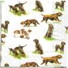 แนวภาพสัตว์ น้องหมาลายเล็กๆ หลายสายพันธ์ ภาพโทนสีขาว เป็นภาพกระจายเต็มแผ่น กระดาษแนพกิ้นสำหรับทำงาน เดคูพาจ Decoupage Paper Napkins ขนาด 33X33cm