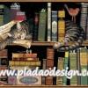 กระดาษสาพิมพ์ลาย สำหรับทำงาน เดคูพาจ Decoupage แนวภาำพ แมวลายก้างปลาสีเทา นอนหลับสบาย ใช้หนังสือหนุนต่างหมอน ในห้องสมุด (ปลาดาวดีไซน์)