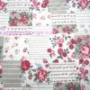 ผ้า Cotton พิมพ์ลาย สำหรับทำงานฝีมือ หรือบุชิ้นงาน - ลาย กุหลาบแดงบน patchwork โทนเขียว