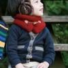 ผ้าพันคอเด็กแบบสวม สีน้ำตาลแดง