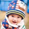 หมวกไหมพรม+ผ้าพันคอ สีน้ำเงินลายหมี สีสันสดใส