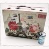 กล่องเก็บของ ทรงกระเป๋าเดินทาง แบบวินเทจ ลาย ปารีเซียนสุดหวาน ขนาดใหญ่ L