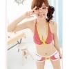ชุดว่ายน้ำทูพีช สายคล้องคอ ลายตารางเล็กๆน่ารัก/สีแดง ไซส์ M