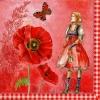 แนวภาพลายการ์ตูน เด็กสาว กับ ดอกไม้ และ ผีเสื้อ เป็นภาพโทนสีแดง เป็นภาพ 4 บล๊อค กระดาษแนพกิ้นสำหรับทำงาน เดคูพาจ Decoupage Paper Napkins ขนาด 33X33cm