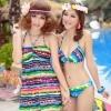 ชุดว่ายน้ำบิกินี่ทูพีชลายกราฟฟิค Multi-color สีสันสวย ขายพร้อมชุดแซกตัวยาวสวยมากๆ