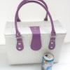 ชิ้นงานดิบ พลาสติกสาน ทำ Decoupage งานเพนท์ กระเป๋าปิ๊กนิค ขนาดกลาง สีขาว หูหนัง สีม่วง M