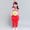 """ชุดแฟชั่นเด็ก ลายทางสีแดง-ขาว"""" smile """"กางเกงสีแดง ผ้าcotton เนื้อนุ่ม ใส่สบาย สไตล์เกาหลี"""
