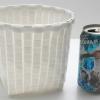 ชิ้นงานดิบ พลาสติกสาน ทำ Decoupage งานเพนท์ ถังขยะจิ๋ว ทรงกระบอกกลม สีขาว