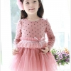 Huanshu kids ชุดเดรสเด็กแขนยาว สีชมพู กระโปรงตกแต่งด้วยลูกไม้ น่ารักสไตล์เกาหลี