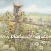 กระดาษสาพิมพ์ลาย สำหรับทำงาน เดคูพาจ Decoupage แนวภาำพ ภาพวาด หมู่นกมาประชุมกันที่บ้านนกบนหัวเสารั้วไม้ มีดอกไม้หลากสีรอบรั้ว (ปลาดาวดีไซน์)