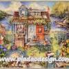 กระดาษสาพิมพ์ลาย สำหรับทำงาน เดคูพาจ Decoupage แนวภาำพ Morningside cottage บ้านริมน้ำ อยู่ติดคลอง สวยหวานมากๆ
