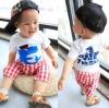 ชุดแฟชั่นเด็ก 2 ชิ้น เสื้อสีขาว สกีนหน้าอก + กางเกงลายสก็อตสีขาวแดง น่ารัก สไตล์เกาหลี(เด็ก 6 เดือน-3ขวบ ค่ะ) ขนาด 11
