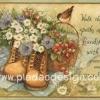 กระดาษอาร์ตพิมพ์ลาย สำหรับทำงาน เดคูพาจ Decoupage แนวภาำพ friendship ปลูกดอกไม้ในรองเท้าบูท มีตระกร้าใส่สตอเบอร์รี่อยู่บนเสื่อปิกนิค (ปลาดาวดีไซน์)