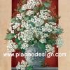 กระดาษเดคูพาจพิมพ์ลาย สำหรับทำงาน เดคูพาจ Decoupage งานฝีมือ งาน Handmade แนวภาพ ตกแต่ง บ้านและสวน ดอกไม้สีขาวในแจกันใบใหญ่มว๊าก สไตล์วินเทจ vintage (ปลาดาวดีไซน์)