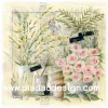 กระดาษสาพิมพ์ลาย rice paper เป็น กระดาษสา สำหรับทำงาน เดคูพาจ Decoupage แนวภาพ บ้านและสวน กุหลาบสีชมพูบานสะพรั่งอยู่ในกระถาง สีหวานคลาสสิค (ปลาดาวดีไซน์)