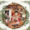 แนวภาพลายเทศกาล ในคืนคริสมาสต์ ภาพในวงรี เป็นภาพ 4 บล๊อค กระดาษแนพกิ้นสำหรับทำงาน เดคูพาจ Decoupage Paper Napkins ขนาด 33X33cm
