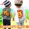 Huanzhu kids ชุดเซตเด็กชาย 2 ชิ้น เสื้อกล้ามลายสิงโตสีขาว +กางเกงขาจั๊มพ์ 3 ส่วนสีเทา เก๋มากค่ะ