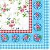 แนวภาพลายแต่ง ดอกไม้ดอกเล้กภาพกระจายพื้นขาว ในกรอบสีฟ้า เป็นกระดาษเต็มแผ่น กระดาษแนพคินสำหรับทำงาน เดคูพาจ Decoupage Paper Napkins เป็นภาพ 4 บล๊อค ขนาด 25X25 ซม