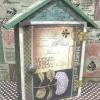 ตู้แขวนกุญแจทรงบ้าน ลายไฮเดรนเยียแนววินเทจ โทนสีเขียว