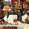 กระดาษสาพิมพ์ลาย สำหรับทำงาน เดคูพาจ Decoupage แนวภาำพ เจ้าแมวจอมยุ่ง นอนหลับปุ๋ย บนโต๊ะวางจักร และไหมพรมถักตุ๊กตา