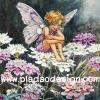 กระดาษสาพิมพ์ลาย สำหรับทำงาน เดคูพาจ Decoupage แนวภาำพ ภาพวาด Fairy Story นางฟ้าตัวน้อยติดปีกผีเสื้อ ในจั๊มพ์สูทสีม่วง นั่งอยู่บนดอกไม้สีม่วง มองวิวทิวทัศน์ด้านล่าง (ปลาดาวดีไซน์)