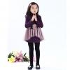 ชุดเดรสแฟชั่นเด็ก สีม่วง ตกแต่ง ด้วยดอกกุหลาบที่หน้าอก กระโปรงฟูๆ น่ารักสไตล์เกาหลี ( ผ้าหนา )