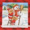 กระดาษสาพิมพ์ลาย สำหรับทำงาน เดคูพาจ Decoupage แนวภาพ หมี Teddy หมีแซนต้าครอส ช่วยกันสร้าง ตุ๊กตาหิมะ Snowman ในกรอบแดง