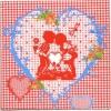 แนวภาพความรัก เด็กน้อยในหัวใจ ภาพโทนสีแดง เป็นภาพ 4 บล๊อค กระดาษแนพกิ้นสำหรับทำงาน เดคูพาจ Decoupage Paper Napkins ขนาด 33X33cm
