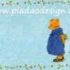 กระดาษสาพิมพ์ลาย สำหรับทำงาน เดคูพาจ Decoupage แนวภาพ หมี Teddy หมีสาว กระโปรงน้ำเงินถือช่อดอกไม้ กับลายแต่งใบไม้ พื้นหลังสีฟ้า