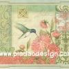 กระดาษสาพิมพ์ลาย สำหรับทำงาน เดคูพาจ Decoupage แนวภาำพ ภาพวาดสีหวาน นกน้อยดูดน้ำหวานในเกสรดอกไม้ พื้นหลังสีเขียวหวาน ภาพในกรอบแบบหลุยส์ (ปลาดาวดีไซน์)