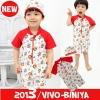 ชุดว่ายน้ำเด็กชาย VIVO-BINIYA สีแดง วันพีช,สกรีนลายสิงโตน่ารัก พร้อมหมวก