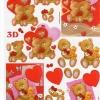 กระดาษ 3D สร้างลายนูน หมีน้อยคู่รัก หมีน้อยกับน้องเป็ด กับหัวใจแดงฉ่ำ 2 ภาพ ขนาด A4